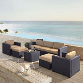Biscayne 7 Person Outdoor Wicker Seating Set in Mocha - One Loveseat, Two Arm Chairs, One Corner Chair, One Coffee Table, Two Ottomans