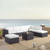 Biscayne 7 Person Outdoor Wicker Seating Set in White - Two Loveseats, One Armless Chair, Coffee Table, Two Ottomans