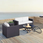Biscayne 3 Person Outdoor Wicker Seating Set in White- Two Corner Chairs, One Arm Chair, Ashland Firepit