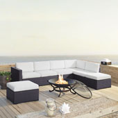 Biscayne 7 Person Outdoor Wicker Seating Set in White - Two Loveseats, One Armless Chair, Two Ottomans, Ashland Firepit