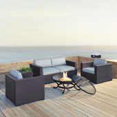 Biscayne 4 Person Outdoor Wicker Seating Set in Mist - Two Armchairs, Two Corner Chair, Ashland Firepit
