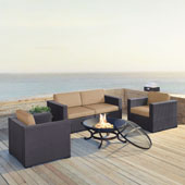 Biscayne 4 Person Outdoor Wicker Seating Set in Mocha - Two Armchairs, Two Corner Chair, Ashland Firepit