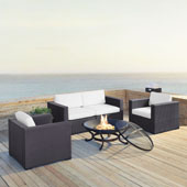 Biscayne 4 Person Outdoor Wicker Seating Set in White - Two Armchairs, Two Corner Chair, Ashland Firepit