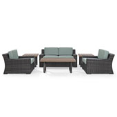 Beaufort 5 pc Outdoor Wicker Seating Set with Mist Cushion - Loveseat, Two Chairs, Coffee Table, Side Table