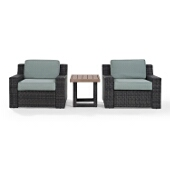 Beaufort 3 pc Outdoor Wicker Seating Set with Mist Cushion - Two Chairs, Side Table