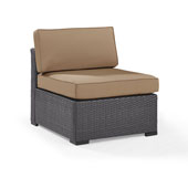 Biscayne Armless Chair with Mocha Cushions