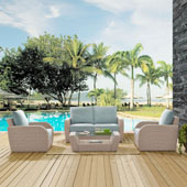 St Augustine 4 pc Outdoor Wicker Seating Set with Mist Cushion - Loveseat, Two Chairs, Coffee Table