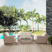 St Augustine 4 pc Outdoor Wicker Seating Set with Oatmeal Cushion - Loveseat, Two Chairs, Coffee Table