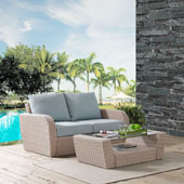 St Augustine 2 pc Outdoor Wicker Seating Set with Mist Cushion - Loveseat, Coffee Table