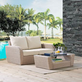 St Augustine 2 pc Outdoor Wicker Seating Set with Oatmeal Cushion - Loveseat, Coffee Table