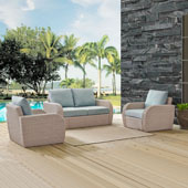 St Augustine 3 pc Outdoor Wicker Seating Set with Mist Cushion - Loveseat, Two Outdoor Chairs