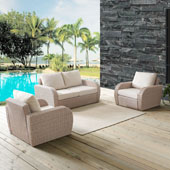 St Augustine 3 pc Outdoor Wicker Seating Set with Oatmeal Cushion - Loveseat, Two Outdoor Chairs