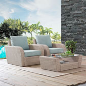 St Augustine 3 pc Outdoor Wicker Seating Set with Mist Cushion - Two Outdoor Wicker Chairs, Coffee Table