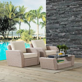 St Augustine 3 pc Outdoor Wicker Seating Set with Oatmeal Cushion - Two Outdoor Wicker Chairs, Coffee Table