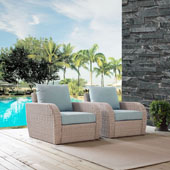 St Augustine 2 pc Outdoor Wicker Seating Set with Mist Cushion -  Two Outdoor Wicker Chairs