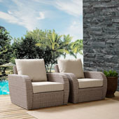 St Augustine 2 pc Outdoor Wicker Seating Set with Oatmeal Cushion -  Two Outdoor Wicker Chairs