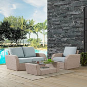 St Augustine 3 pc Outdoor Wicker Seating Set with Mist Cushion - Loveseat, Arm Chair , Coffee Table