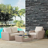 St Augustine 3 pc Outdoor Wicker Seating Set with Oatmeal Cushion - Loveseat, Arm Chair , Coffee Table