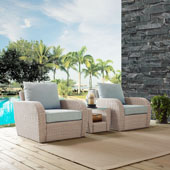 St Augustine 3 pc Outdoor Wicker Seating Set with Mist Cushion - Two Chairs, Side Table