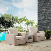 St Augustine 3 pc Outdoor Wicker Seating Set with Oatmeal Cushion - Two Chairs, Side Table