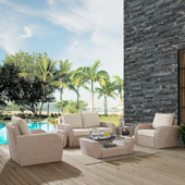 St Augustine 6 pc Outdoor Wicker Seating Set with Oatmeal Cushion - Loveseat, Two Chairs, Two Side Tables, Coffee Table