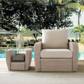 St Augustine Outdoor Wicker Arm Chair in Weathered White with Universal Oatmeal Cushion