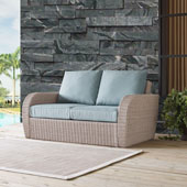 St Augustine Outdoor Wicker Loveseat in Weathered White  with Universal in Mist Cushion