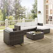 Sea Island 6 Piece Wicker Sectional Set, Gray Finish - One Armchair, Two Corner Chairs, One Coffee Table, One Armless Chair, One Ottoman