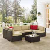 Sea Island 7 Piece Wicker Sectional Set, Brown Finish - Two Corner Chairs, One Coffee Table, Four Armless Chairs