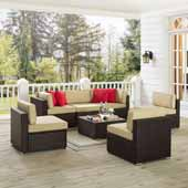 Sea Island 7 Piece Wicker Conversational Set, Brown Finish - Two Corner Chairs, One Coffee Table, Four Armless Chairs