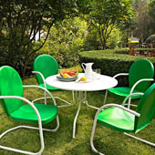 Griffith Metal 40'' Five Piece Outdoor Dining Set - 40'' Dining Table in White Finish with Grasshopper Green Finish Chairs