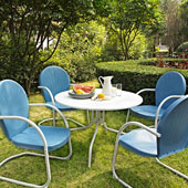 Griffith Metal 40'' Five Piece Outdoor Dining Set - 40'' Dining Table in White Finish with Sky Blue Finish Chairs
