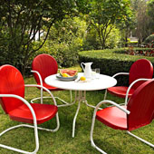 Griffith Metal 40'' Five Piece Outdoor Dining Set - 40'' DiningTable in White Finish with Red Finish Chairs