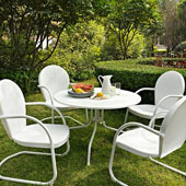 Griffith Metal 40'' Five Piece Outdoor Dining Set - 40'' Dining Table in White Finish with White Finish Chairs