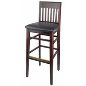 Henry Slat Back Wood Bar Stool with Finish and Black Vinyl Seat 24''