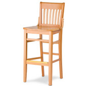 Cambridge Henry Slat Back Wood Bar Stool with Finish and Wood Seat 24''