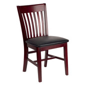 Henry Slat Back Wood Chair with Black Vinyl Seat