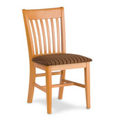 Henry Slat Back Wood Chair with Upholstered Fabric Seat, Available in Different Grade Finishes