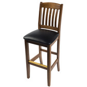 Bulldog Slat Back Wood Bar Stool with Black Vinyl Seat 30''