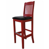 Bulldog Slat Back Bar Stool with Upholstered Seat 30'', Available in Different Grade Finishes