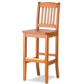 Bulldog Slat Back Bar Stool with Wood Seat 24''