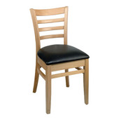 Wood Carole Ladder Back Chair with Black Vinyl Seat
