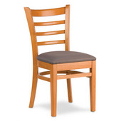 Wood Carole Ladder Back Chair with Upholstered Seat, Available in Different Grade Finishes