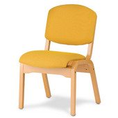 Wood Campus Chair with Upholstered Seat, Available in Different Grade Finishes