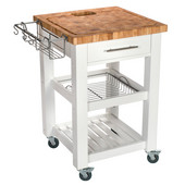 Pro Chef Food Prep Station with End Grain Top in White, 23-3/4'' W x 23-3/4'' D x 35-3/4'' H