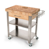 Stadium Series Kitchen Work Station with 2-1/2'' Solid End Grain Top, Solid Stainless Shelves and Legs, 30'' W x 20'' D x 36'' H