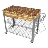 Stadium Kitchen Work Station With End Grain Top in Acacia, 38-1/8''W x 20''D x 34-1/2''H