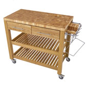 Chef Kitchen Work Station With End Grain Wood Shelves in Natural, 38-1/8''W x 20''D x 34-1/2''H