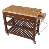 Chef Kitchen Work Station With End Grain Wood Shelves in Espresso, 38-1/8''W x 20''D x 34-1/2''H