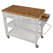 Chef Kitchen Work Station With End Grain Wood Shelves in White, 38-1/8''W x 20''D x 34-1/2''H
